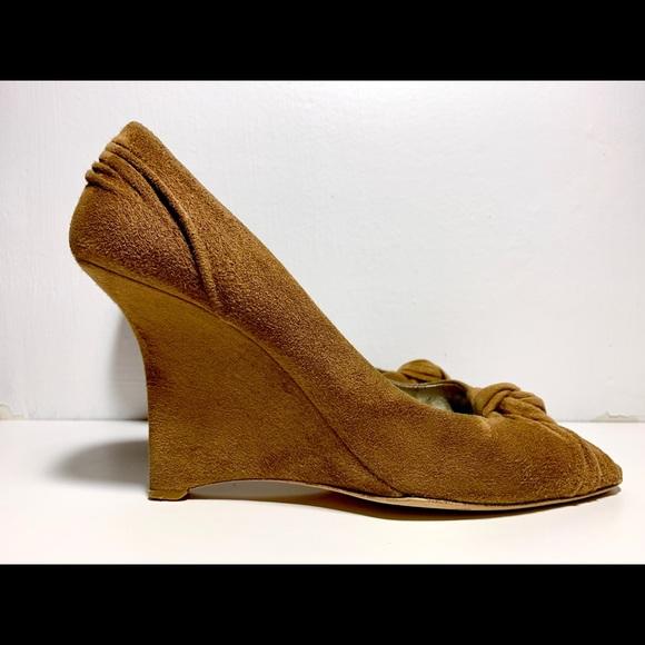 Prada Suede Wedge Peep-toe Pump Size 37.5 US 7.5